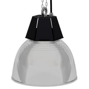 LED-LB-2012-PC Series, 30W, 40W, 50W, 60W, 80W. 12 Inch 45 Degree PC Reflector. Duke Light High Bay and Low Bay lights are engineered with rugged steel or cast aluminum housings and are damp rated for outstanding reliability in warehouses, storage facilities, retail and light industrial locations with 12 to 60 foot ceiling heights. LED Highbay Light Fixtures, LED Low Bay Light Fixtures, PC Prismatic Reflector, Polycarbonate Prismatic Reflector, Indoor Lighting.