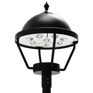 LED-AREA-1904 Series, 19 Inch Round LED Area Post Top Lighting Fixtures - 60 Watts, 80 Watts, 100 Watts, 120 Watts, 150 Watts, 180 Watts, 200 Watts, 240 Watts, 320 Watts, 2700K 3000K 4000K 5000K 5700K 6000K - 120VAC, 277VAC, 347VAC, 380VAC, 480VAC, 500VAC